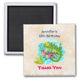 Green Tropical Lizard with Flowers Thank You Square Magnet