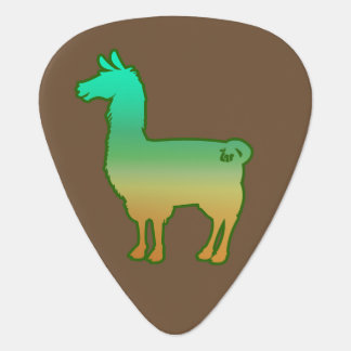 Green Tropical Llama Guitar Pick
