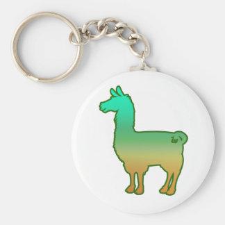 Green Tropical Llama Keychain
