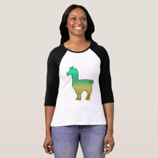 Green Tropical Llama Ladies 3/4 T-Shirt
