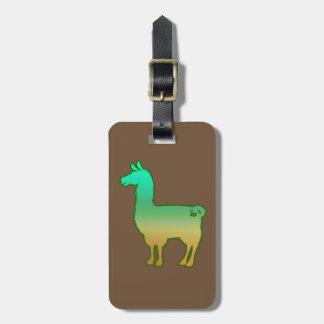 Green Tropical Llama Luggage Tag
