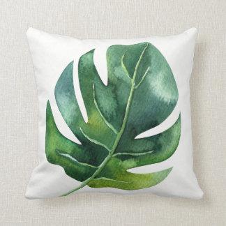 Green Tropical Palm Leaf Botanical Island Chic Throw Pillow