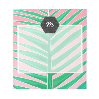 Green tropical palm tree leaf watercolor pink notepad