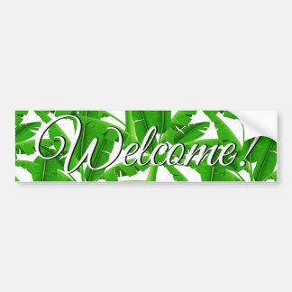Green tropical palm trees bumper sticker