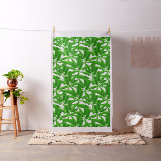 Green tropical palm trees fabric