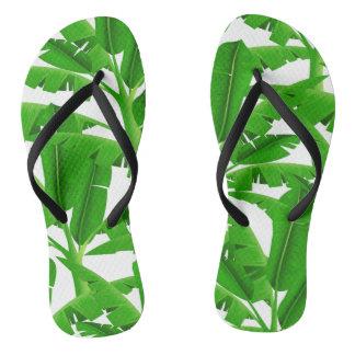 Green tropical palm trees flip flops