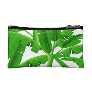 Green tropical palm trees makeup bag