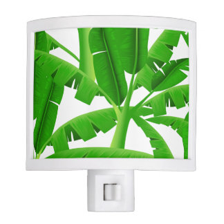 Green tropical palm trees night lite