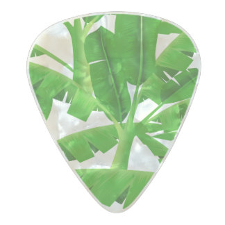 Green tropical palm trees pearl celluloid guitar pick