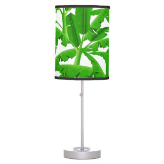 Green tropical palm trees table lamp