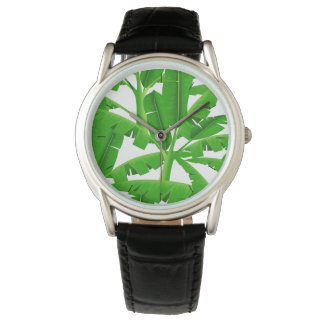Green tropical palm trees wrist watch