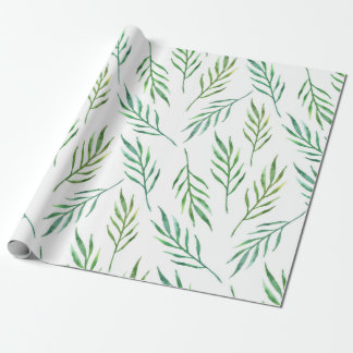 Green tropical. Watercolor exotic. Botanical Wrapping Paper