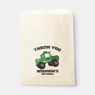 Green Truck Birthday Monster Truck Favour Bag