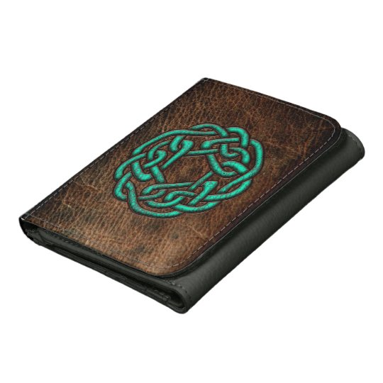 Green turquoise celtic knot on leather digital art wallet