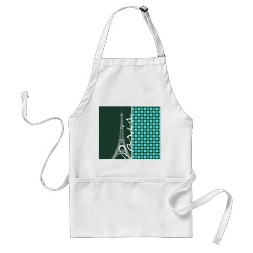 Green & Turquoise Eiffel Tower Aprons
