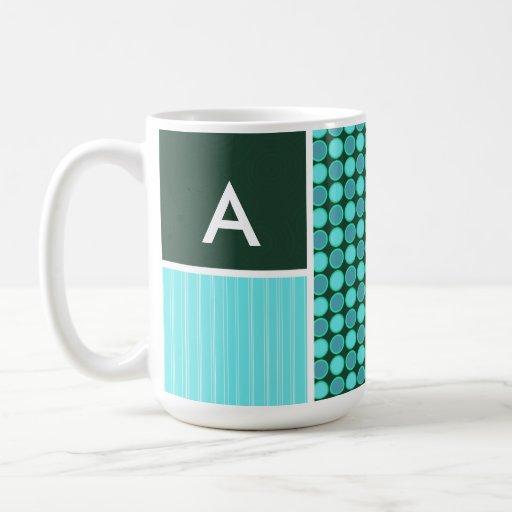 Green & Turquoise Polka Dots Coffee Mugs