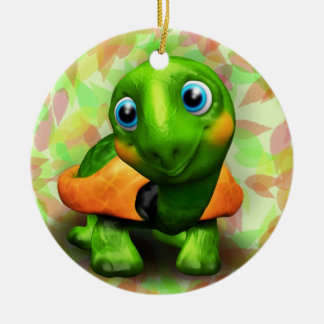 Green Turtle Baby 3D Circle Ornament