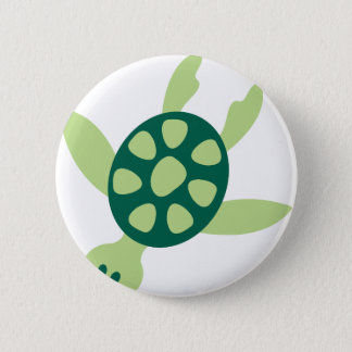 Green Turtle Swimming 2 Inch Round Button