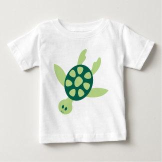 Green Turtle Swimming Baby T-Shirt