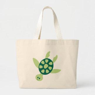 Green Turtle Swimming Large Tote Bag