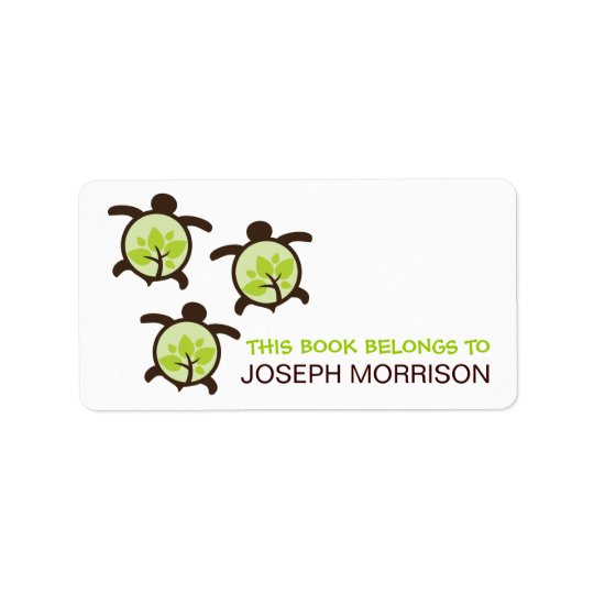 Green Turtles Bookplates Labels