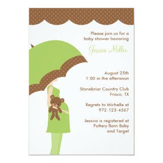 Green Umbrella Baby Shower Invitation