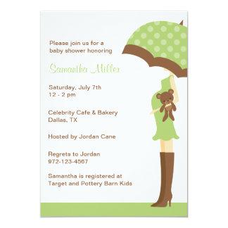 Green Umbrella Baby Shower Invitations
