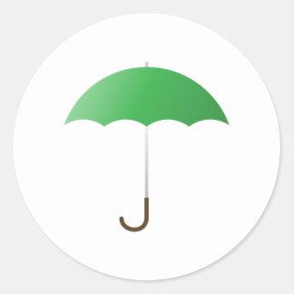 Green Umbrella Classic Round Sticker