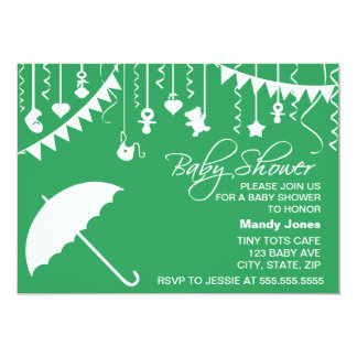 Green umbrella modern baby shower invitations