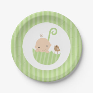 Green Umbrella Neutral Baby Shower 7 Inch Paper Plate