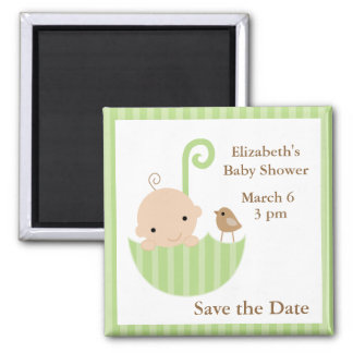 Green Umbrella Neutral Baby Shower Magnet
