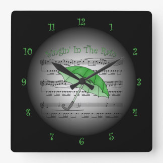Green Umbrella~Singin' In The Rain~3-D Sheet Music Square Wall Clock