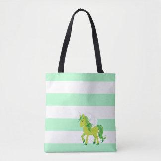 Green Unicorn w/Green and White Stripes Tote Bag