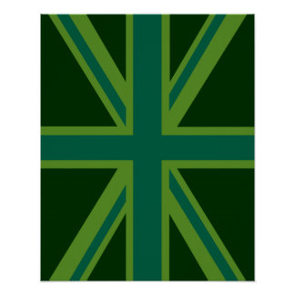Green Union Jack Flag Decor Poster