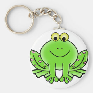 Green Valentine Frog with pink hearts Keychains