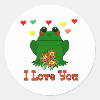 Green Valentine's Day Frog Classic Round Sticker