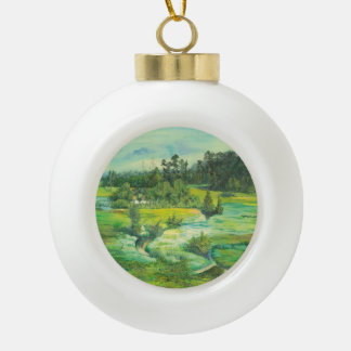 green valley ceramic ball christmas ornament