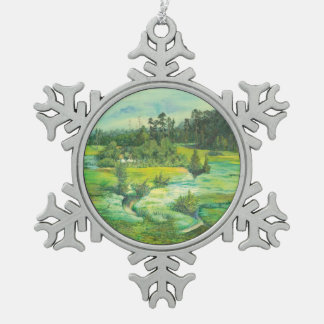 green valley snowflake pewter christmas ornament