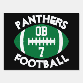 Green Varsity Football Team Player Number Position Sign