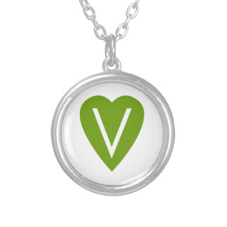 Green Vegan Heart Silver Plated Necklace