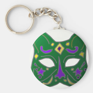 Green Venetian Cat Mask Design Keychain