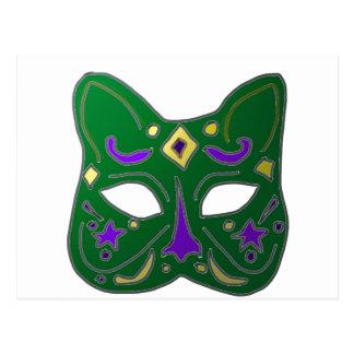 Green Venetian Cat Mask Design Postcard