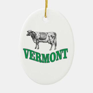 green vermont ceramic ornament