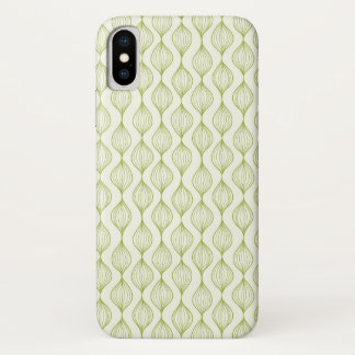 Green vertical ogee pattern background iPhone x case