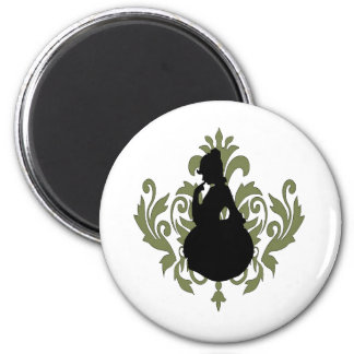 Green Victorian Damask w/ Female Silhouette Magnet