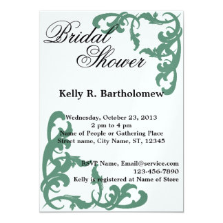 Green Victorian Flourish Filigree Bridal Shower Card
