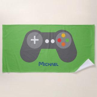 Green Video Game Controller Beach Towel