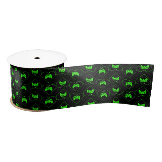 Green Video Game Controller Heart Pattern Satin Ribbon