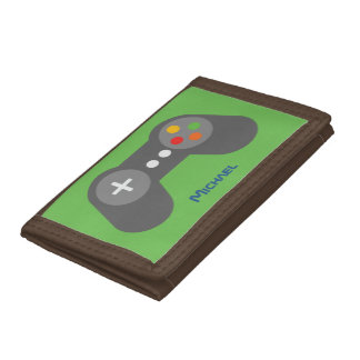 Green Video Game Controller Tri-fold Wallets