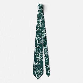 """""""Green Vinca"""" Flower Garden Neck Tie"""
